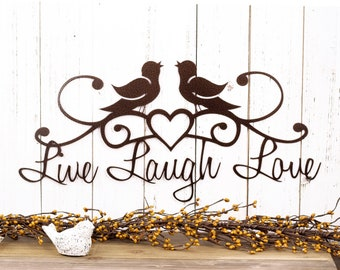 Live Laugh Love   Birds   Wall Decor   Rustic Decor   Lake House Decor   Heart   Wall Hanging   Metal Wall Art   Metal Sign