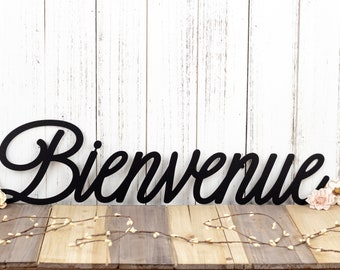 Bienvenue French Welcome Metal Wall Art   Welcome   Welcome Sign   Welcome Wall Art   Outdoor Sign   Wall Hanging   Wall Decor