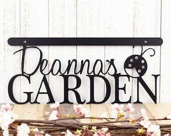 Custom Garden Name Sign | Wall Decor | Garden Sign | Gift For Her | Wall Hanging | Metal Sign | Metal Wall Art | Metal Wall Decor | Ladybug