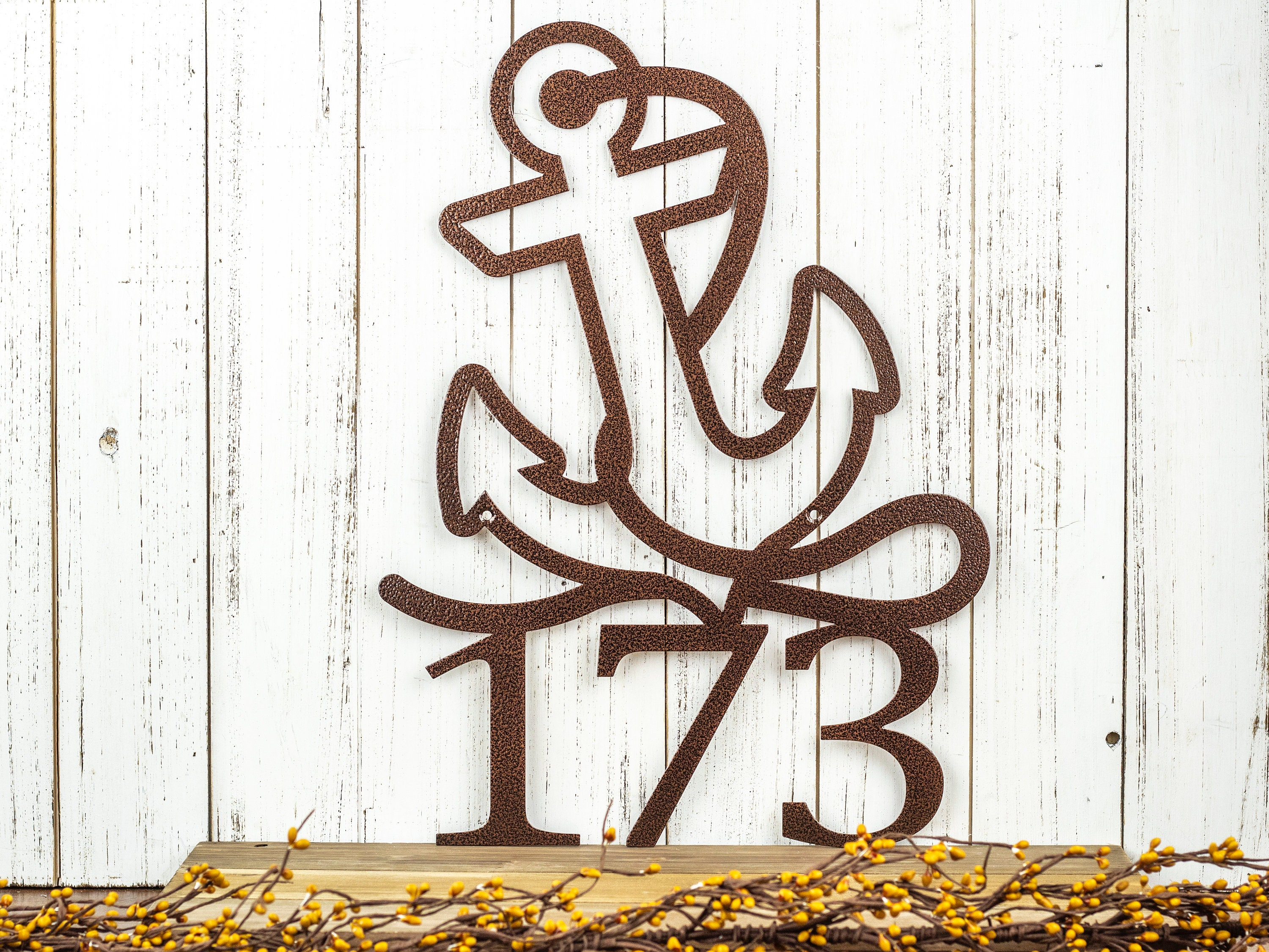 Nautical House Number With Anchor Metal Address Plaque Outdoor