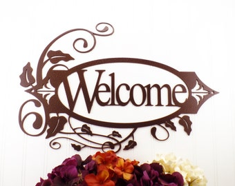 Welcome Metal Sign with Vines - Copper, 19.8x13.15, Metal Wall Art, Outdoor Sign, House Sign, Door Sign, Sign, Signage