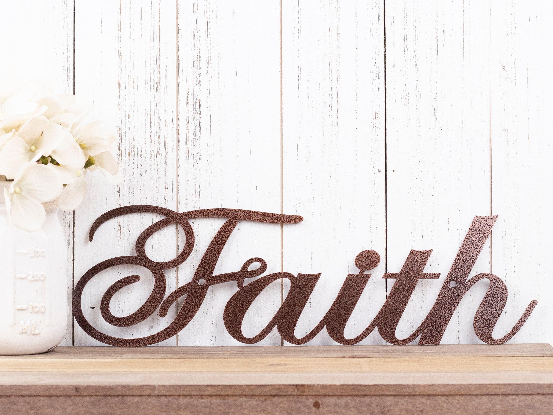 Faith Metal Sign   Religious Decor   Metal Wall Art ...