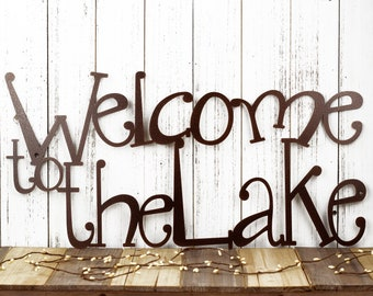 Welcome to the Lake Sign   Metal Wall Art   Lake House Decor   Cabin Decor   Outdoor Sign   Wall Decor   Laser Cut Metal   Copper Vein shown