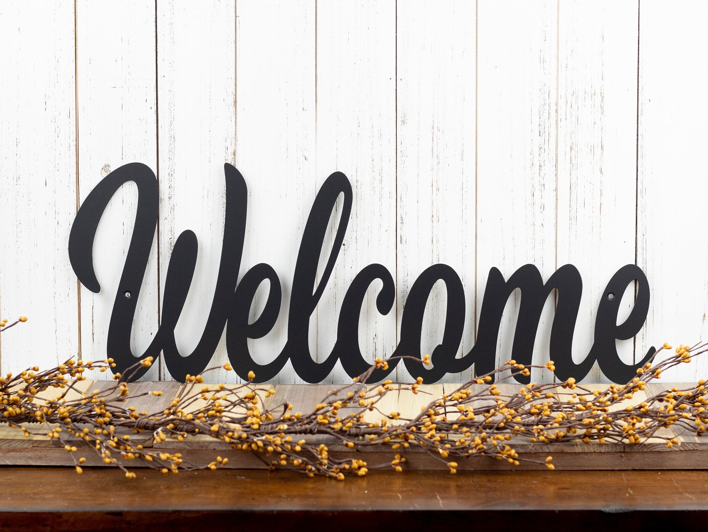 Metal Welcome Sign | Farmhouse Decor | Outdoor Wall Art ...