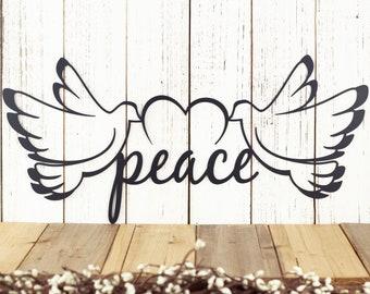 Peace Dove Metal Wall Art | Metal Sign | Heart | Doves | Peace | Christmas Decor | Christmas Sign | Wall Decor | Wall Hanging | Sign