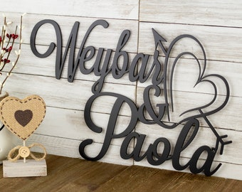 Metal Name Sign with Heart Arrow | Metal Signs Personalized | Love Sign | Couples Gift | Wedding Gift | Laser Cut Sign | Matte Black shown