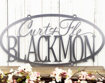 Custom Family First and Last Name Oval Metal Sign - Silver, Custom Sign, Metal Wall Art, Wedding Gift