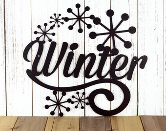 Winter Metal Sign - Black, 15.4x14.2, Seasonal Decor, Outdoor Sign, Door Sign, Metal Wall Art, Metal Sign, Winter, Sign