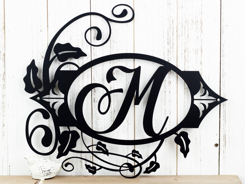 Metal Family Sign Vine Monogram Flourish Monogram Outdoor Metal Wall Art Personalized Sign Laser Cut Sign Matte Black Shown