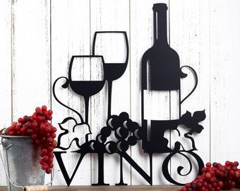 Vino Metal Wall Art   Wine   Vino   Wine Sign   Wine Wall Decor   Wine Decor   Kitchen Decor   Metal Sign   Wedding Gift