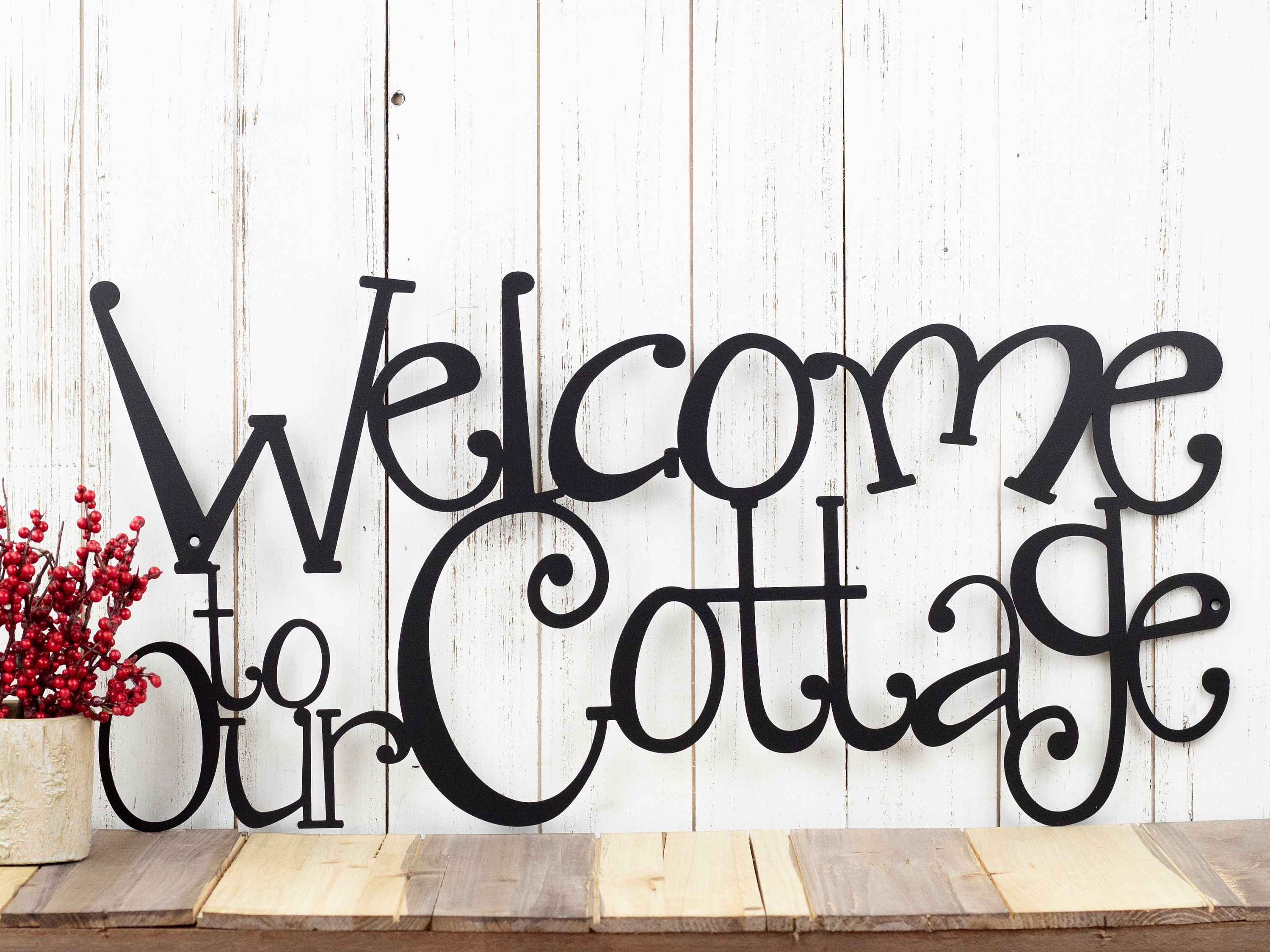 Welcome To Our Cottage Metal Sign Lake House Decor Metal
