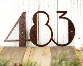 Modern House Number Plaque   Metal House Numbers   Modern House Numbers   Art Deco   Custom Metal Sign   Laser Cut Sign   Copper Vein shown