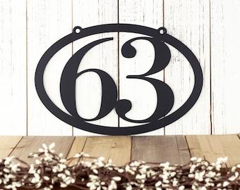 Hanging House Number Sign - Metal Address Plaque