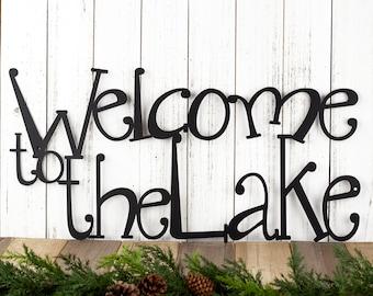 Welcome To The Lake Metal Sign   Lake House Decor   Metal Wall Art   Outdoor Sign   Sign   Lake Wall Decor   Cabin Decor   Metal Wall Decor