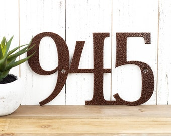 Metal House Numbers | Outdoor House Number | Address Plaque | House Number Sign | Rustic | Laser Cut Metal | 3 Digit | Copper Vein shown