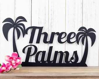 Palm Tree Custom Name Metal Sign | Tropical | Beach | Ocean | Beach House Sign | Metal Wall Art | Outdoor Sign | Custom Sign