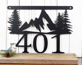 Mountain Metal House Number Sign   Metal Sign   Outdoor Sign   House Numbers   Address Plaque   Address Sign   Custom Sign