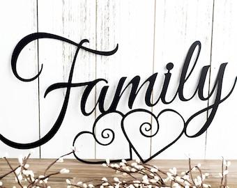 Family Metal Wall Art   Hearts   Family Sign   Metal Sign   Family Decor   Family Wall Decor   Wedding Gift   Wall Hanging