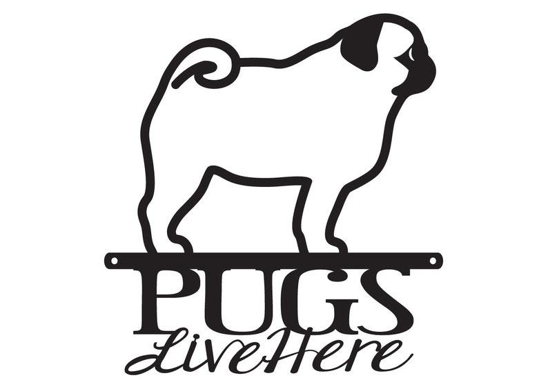 Pug Black Metal Welcome Sign *NEW*