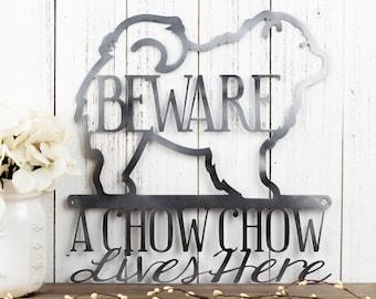 Chow Chow Metal Wall Art   Metal Sign   Dog Sign   Metal Wall Decor   Outdoor Sign   Chow Chows   Beware   Metal Wall Hanging