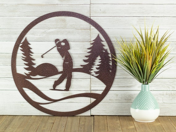 Golf Metal Wall Art Fathers Day Gift, Golf Outdoor Decor