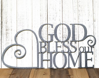God Bless Our Home Sign - Heart Metal Wall Art - Kitchen Decor - Family Sign