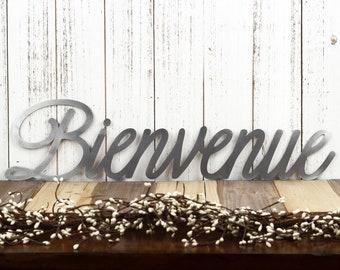 Bienvenue Sign | Welcome Sign | Metal Word Art | Outdoor Metal Wall Art | Metal Signs | French Welcome | Laser Cut Sign | Raw Steel shown