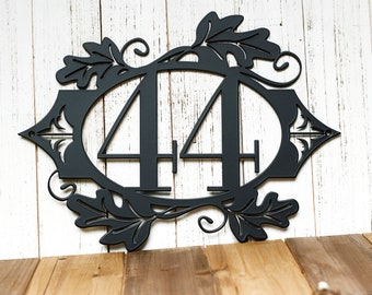 Metal Address Plaque with Oak Leaves | Metal House Numbers | Outdoor Metal Wall Art | Laser Cut Metal | 2 Digit | Matte Black shown