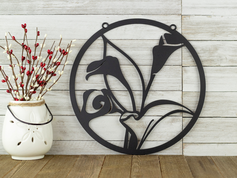 Calla Lily Flower Garden Sign Outdoor Metal Wall Art Garden
