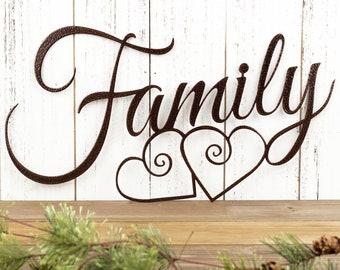 Family Metal Sign   Metal Wall Art   Family Sign   Metal Wall Decor   Hearts   Family Wall Art   Wall Hanging   Metal Sign
