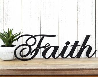 "Faith Metal Wall Art   14.5""W x 4.5""H   Faith Sign   Spiritual   Religious   Inspirational   Metal Sign   Wall Decor"