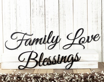 Family Blessings Love Metal Signs - Black, Metal Wall Art, Metal Wall Decor, Sign, Signage, Wall Hanging, Script