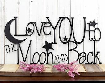 Love You To The Moon And Back Metal Sign | Metal Wall Art | Wall Hanging | Wedding Gift | Wedding Sign | Sign | Moon | Stars