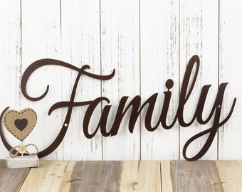 Metal Family Sign   Metal Word Art   Steel Signs   Wall Hanging   Rustic Home Decor   Outdoor Signs   Laser Cut Sign   Copper Vein shown