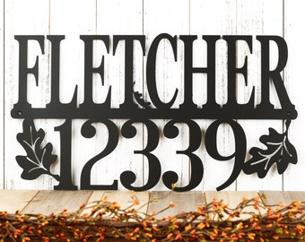 Custom Family Name and Address Metal Sign | House Numbers | Last Name Sign | Metal Wall Art | Outdoor Sign | Custom Sign | Address Plaque