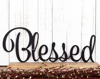 Blessed Sign   Metal Wall Art   Family Sign   Wall Decor   Farmhouse Sign   Thankful Sign   Gratitude   Laser Cut Metal   Matte Black shown