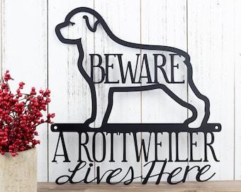 Rottweiler Metal Wall Art   Metal Sign   Outdoor Sign   Rottweilers   Metal Wall Decor   Wall Hanging   Beware   Pet   Gift   Dog Sign