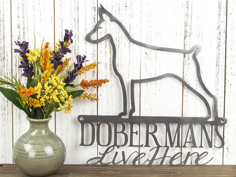 Doberman Sign   Doberman Pinscher   Dog Silhouette Sign