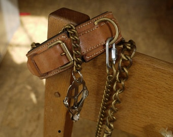 Full set, natural undyed leather fetish cuffs(4) and collar, handmade