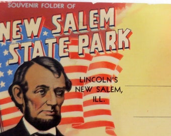 Antique 1950's Souvenir Folder of Abraham Lincoln's New Salem Illinois Home in New Salem State Park