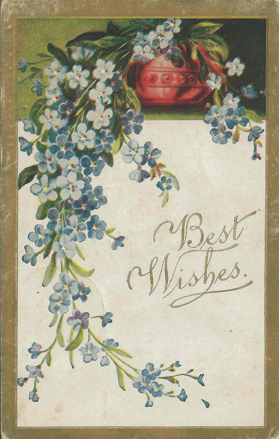 Antique Happy Birthday Greeting Postcard With Best Wishes For