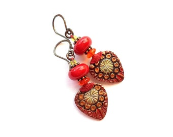 Earrings, artisan, colorful, Boho-tribal, artisan painted copper, lampwork, Old World, lightweight, small, fiber, red, orange, peridot