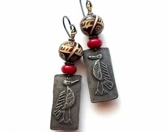 Tribal earrings, rustic, carved African wooden beads, artisan dark pewter crow charms, red lampwork glass, black, white, lightweight
