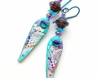 Artisan earrings, OOAK, Boho, playful, colorful polymer clay, Czech glass, ultra-lightweight, purple, turquoise, teal