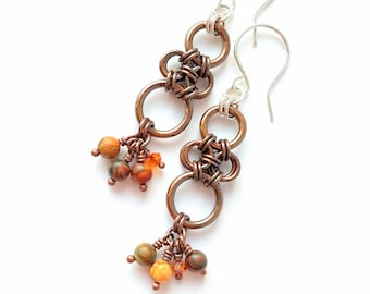 Copper, gemstone, crystal, and silver chainmaille earrings, artisan, goddess earrings, handcrafted, lightweight, elegant