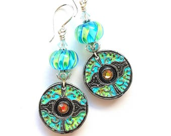 Boho earrings, artisan, OOAK, lightweight, lampwork glass, painted pewter, turquoise, lime green, rustic
