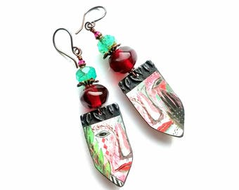 Boho earrings, rustic, artisan-painted faces on pewter charms, ruby red lampwork nuggets and Czech glass beads, lightweight