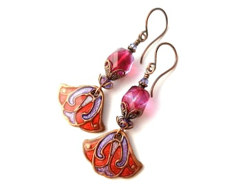 Artisan Boho earrings, OOAK, romantic, artisan-made painted copper charms, faceted Czech glass beads, small, ultra-lightweight, purple/red