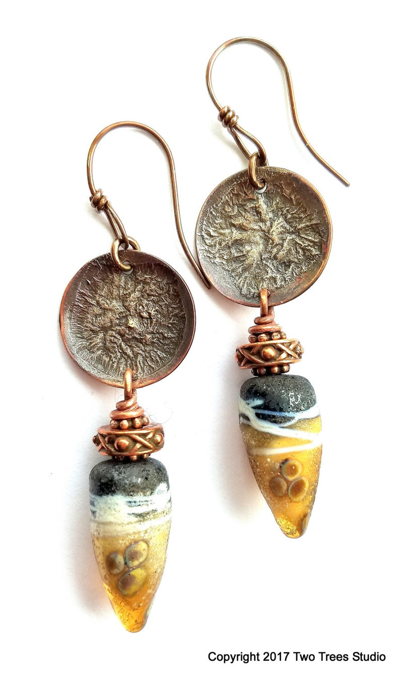 ancient Artisan earrings tribal artisan-made lampwork glass handcrafted gift for her silver-fused copper rustic