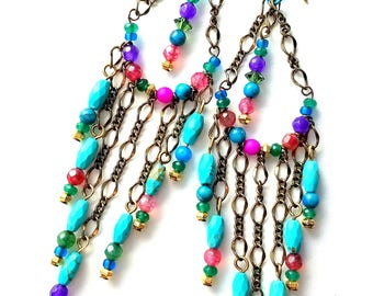 Artisan Boho-hippie turquoise and gemstone earrings, long, handcrafted, vibrantly colorful, Czech glass, lightweight